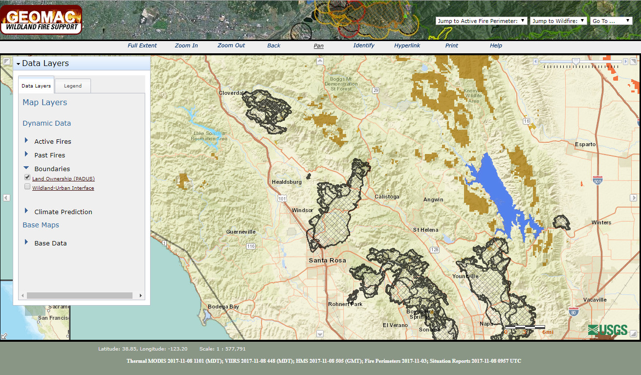 Wildfire Management Uses PADUS Protected Lands - Us active fire map